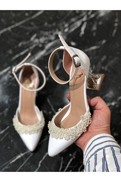 Kadın Beyaz İnci Detaylı Abiye Ayakkabı
