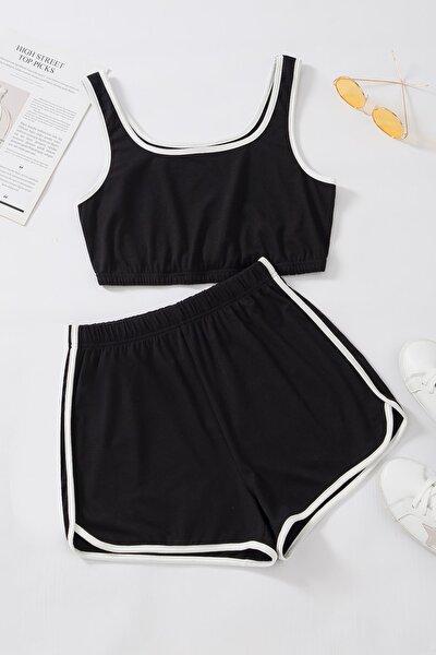 Kadın Siyah Askılı Pamuklu Pijama Takımı