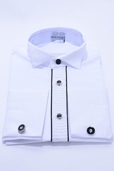 Kol Düğmeli Beyaz Renk Siyah Biyeli Çocuk Gömlek