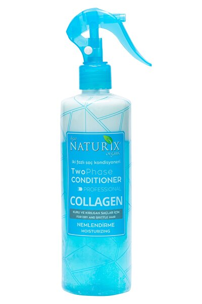 Bitkisel Collagen Fön Suyu Iki Fazlı Sıvı Saç Kremi 400 ml Saç Kondisyoneri Mavi Su Kolay Tarama