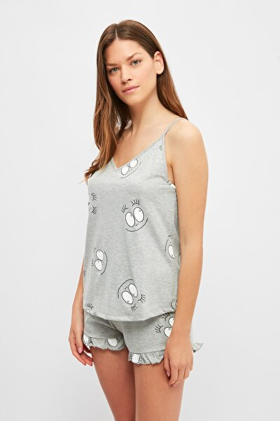 Gri Grafik Baskılı Örme Pijama Takımı THMSS21PT1065