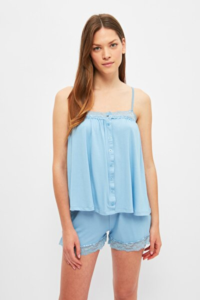 Mavi Dantel Detaylı Örme Pijama Takımı THMSS21PT1318