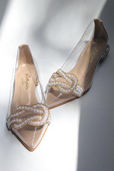 Kadın Ten Rengi Düğüm Taş Detaylı Klasik Babet Abiye Ayakkabı