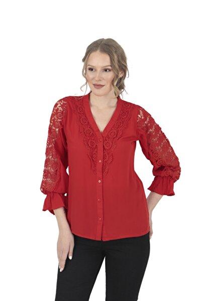 Raglan Kol Fırfırlı Kırmızı Gömlek