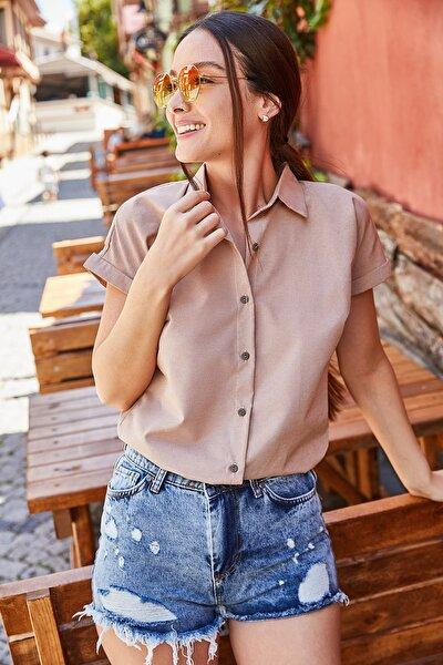 Kadın Bej Kısa Kol Gömlek ARM-21K001239