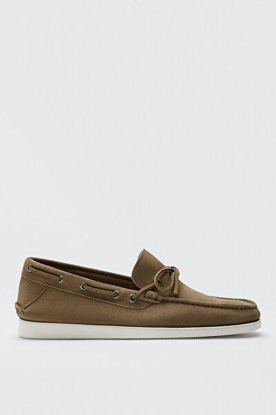 Erkek Kum Rengi Kalın Süet Deri Tekne Ayakkabısı 12420850