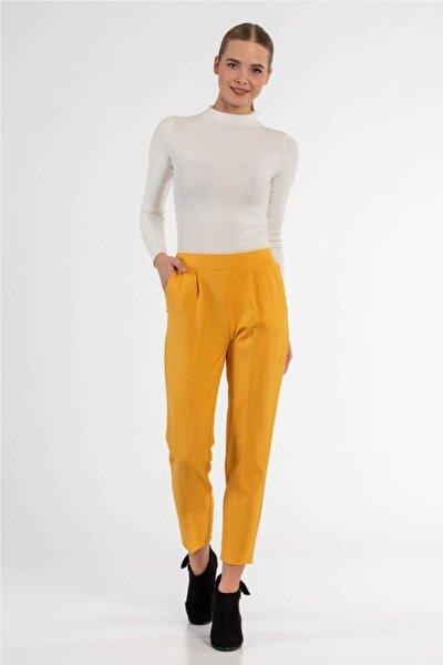 Belden Lastikli Sarı Bilek Pantolon