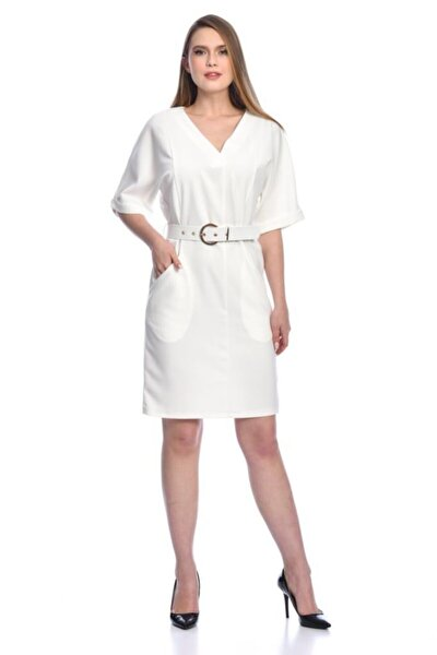 Kısa Kollu V Yaka Yandan Cepli Tokalı Ve Kemerli Beyaz Elbise