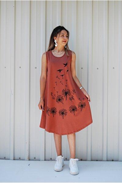 Kadın Kolsuz,Çiçek Baskılı Büyük Beden Elbise