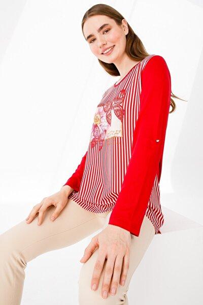 Kadın Sıfır Yaka Uzun Kol Kelebek Boncuklu Penye Bluz Kırmızı