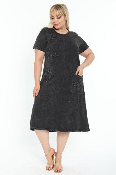 Kadın Yıkamalı Siyah Otantik Aplikeli Büyük Beden Elbise