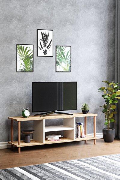 Tv Sehpası Raflı Tv Ünitesi Televizyon Sehpası Ahşap Ayaklı Çam-beyaz Raflı