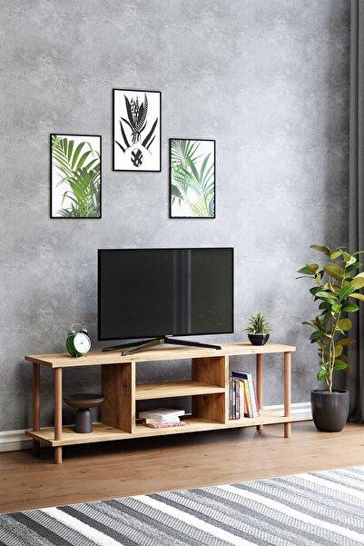 Tv Sehpası Raflı Tv Ünitesi Televizyon Sehpası Ahşap Ayaklı Çam