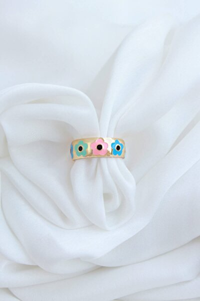 Çiçek Desenli Renkli Mineli Ayarlamalı Yüzük