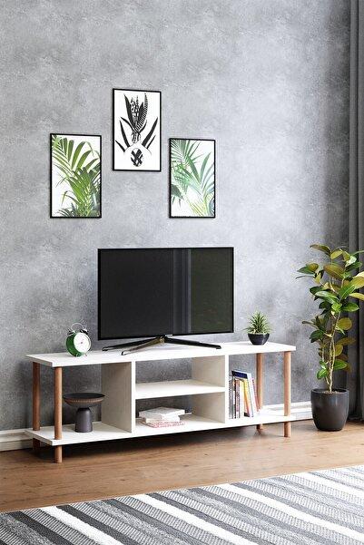 Tv Sehpası Raflı Tv Ünitesi Televizyon Sehpası Ahşap Ayaklı Beyaz
