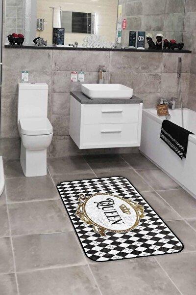 60x90 Black&rose Queen Dijital Baskılı Tekli Banyo Paspası