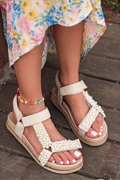 Pearl Kadın Inci Detay Cırt Cırtlı Sandalet Siyah - Beyaz - Bej