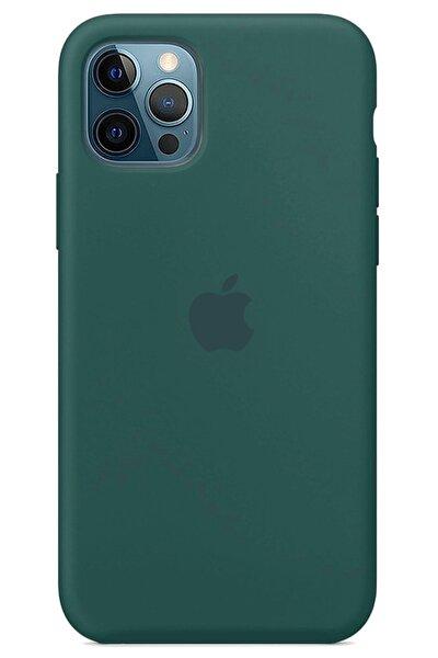 Iphone 12 Pro Max Kılıf Logolu Lansman Altı Kapalı Içi Süet - Koyu Yeşil + Popsocket