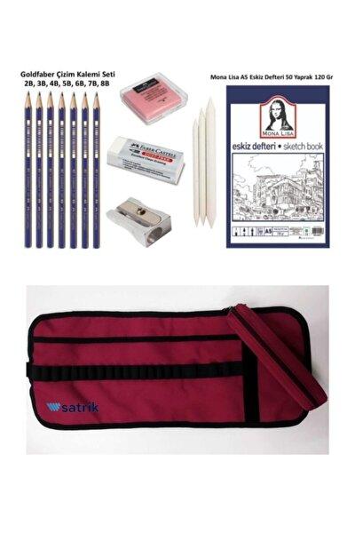 Goldfaber Eskiz Defterli Karakalem Çizim Seti Pastel Dağıtma,kalemtraş,silgi