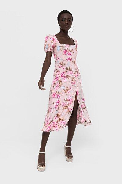 Sırt Dekoltesi Detaylı Midi Elbise