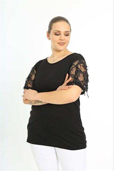 Kadın Siyah Baklava Desen Büyük Beden Bluz