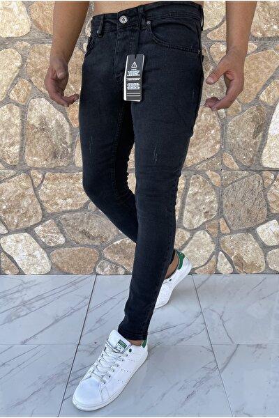 Erkek Jeans Skinny Fit Likralı Antrasit Tırnaklı