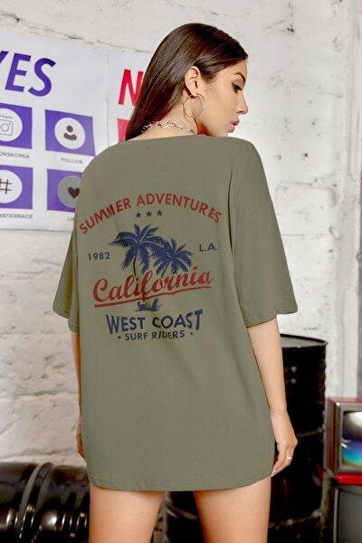 Kadın Açık Haki Rengi Oversize California Baskılı T-shirt