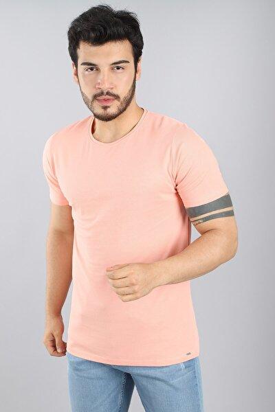 Erkek Bisiklet Yaka Slim Fit Kısa Kollu Yavruağzı T-shirt