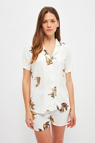 Beyaz Kaplan Desenli Dokuma Pijama Takımı THMSS21PT1501