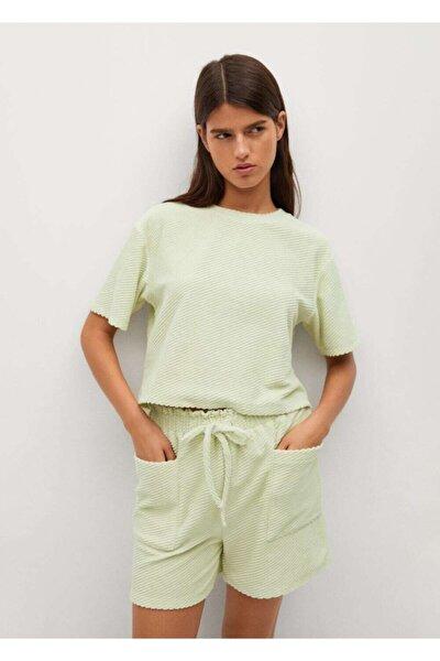 Kadın Pastel Yeşil Pamuklu Havlu Kumaşlı Tişört