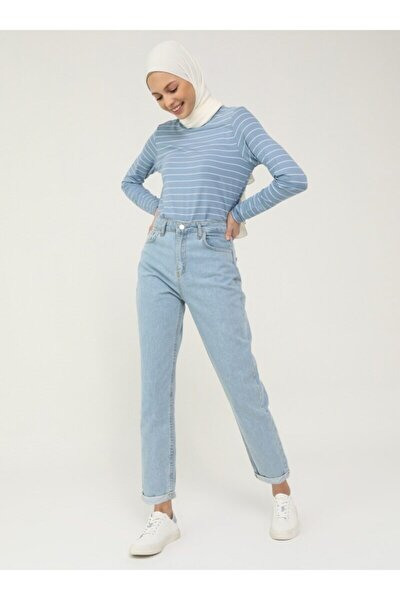 Kadın Buz Mavisi Doğal Kumaşlı Kot Pantolon