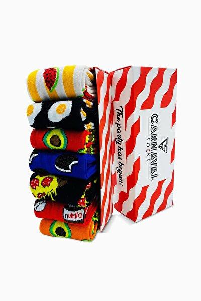7'li Carnaval Renkli Tasarım Çorap Set 1027