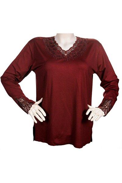 Kadın Bordo Yakası Dantelli Anne Penye Bluz