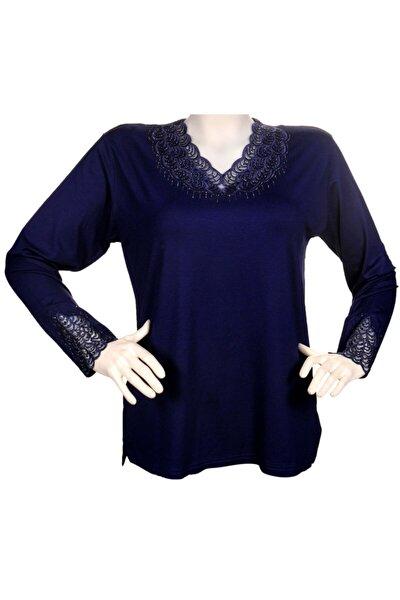 Kadın Saks Mavisi Yakası Dantelli Anne Penye Bluz