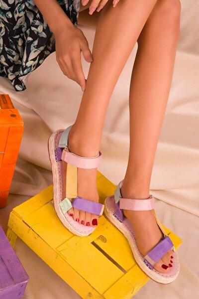 Pudra-Lila-Sari Kadın Sandalet 16379