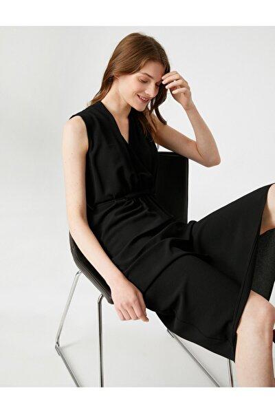 Kadın SİYAH V Yaka Elbise Kolsuz Cepli