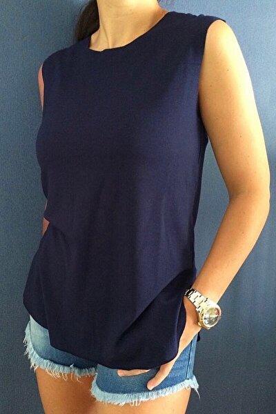 Harper Lacivert Viskon Kolsuz T-shirt