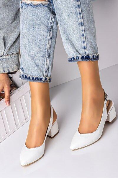 5 Cm Topuklu Bayan Topuklu Ayakkabı-beyaz