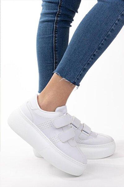 Kadın Beyaz Cilt Deri Cırt Cırtlı Sneaker Spor Ayakkabı Yürüyüş Ayakkabısı Yüksek Tabanlı Bantlı