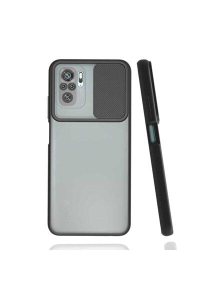 Redmi Note 10 Uyumlu  Kılıf Slayt Sürgülü Kamera Korumalı Arkası Buzlu Renkli Silikon