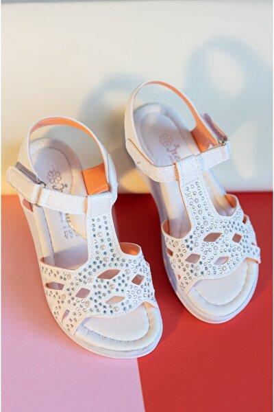 Owwox Kids Kız Çocuk Beyaz Taş Detaylı Günlük Sandalet