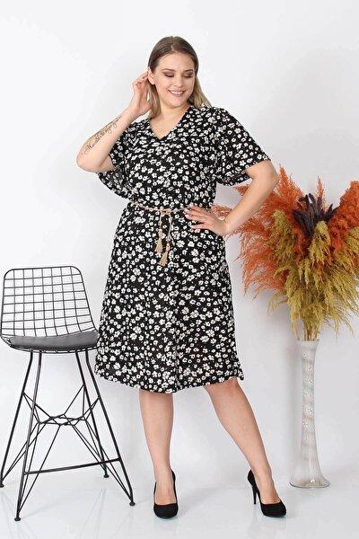 Kadın Yeni Sezon Çiçekli Büyük Beden Örme Elbise Nb8073