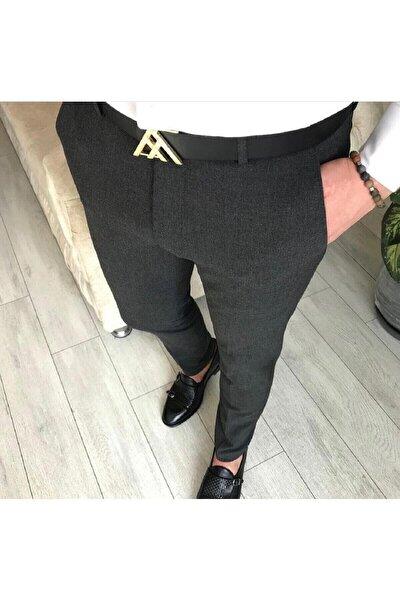 Erkek Antrasit Italyan Kesim Slim Fit Kumaş Pantolon