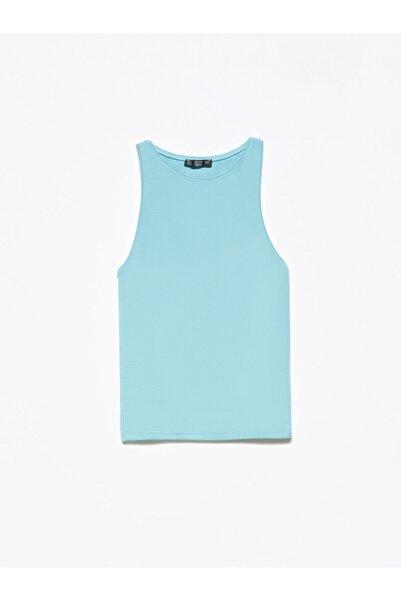 3694 Halter Yaka T-shirt Turkuaz
