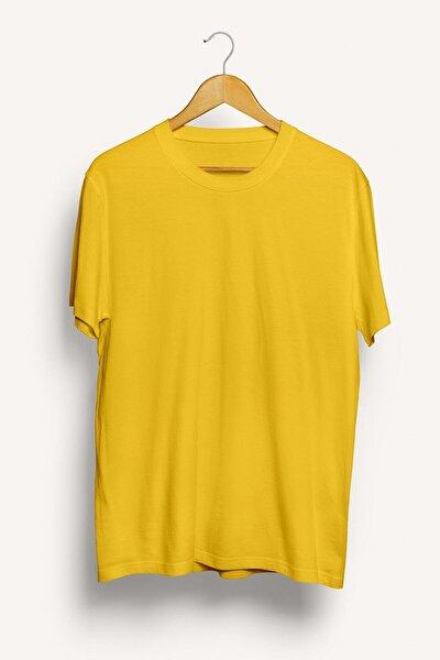 Erkek Sarı Basic Bisiklet Yaka Oversize Kısa Kollu T-shirt