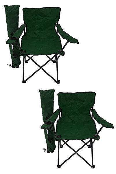 2'li Kamp Sandalyesi Piknik Sandalyesi Katlanır Sandalye Taşıma Çantalı Kamp Sandalyesi Yeşil.