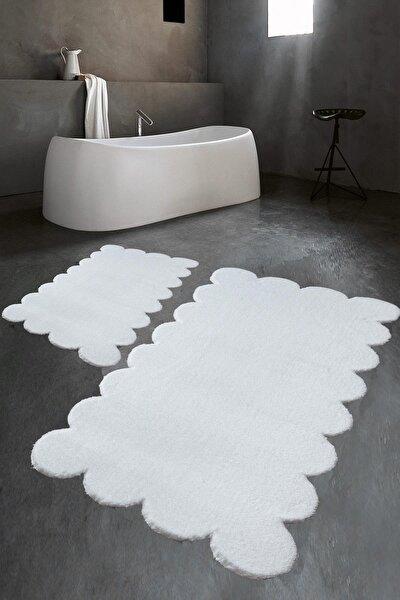Lazer Kesim Beyaz Peluş Halı Banyo Paspası 2'li