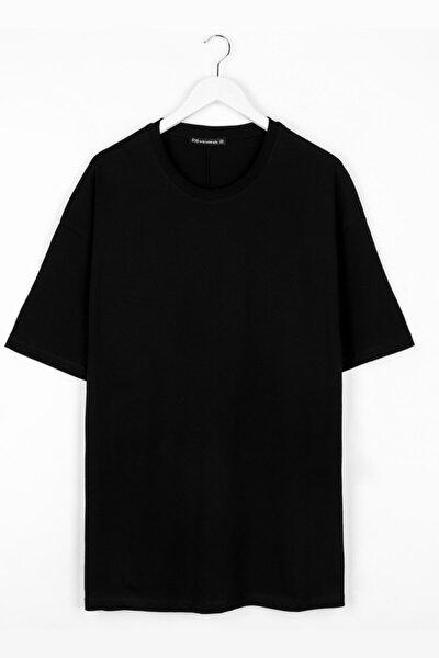 Extra Oversize Basic Siyah Erkek Tshirt