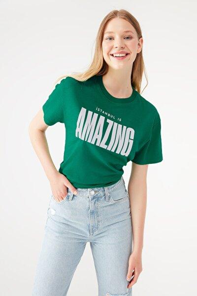 Kadın İstanbul Amazing Baskılı Yeşil Tişört 1601173-34120