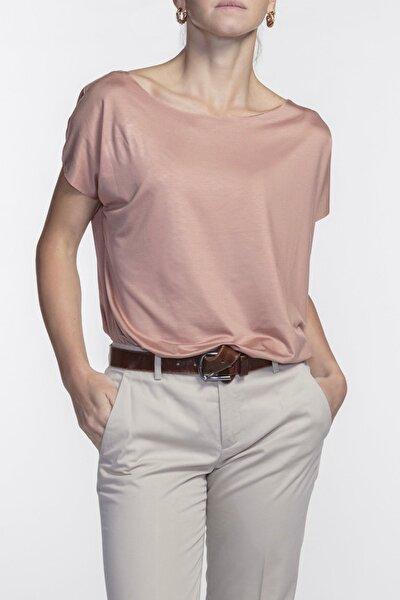 Eileen Kayık Yaka Viskon Terracotta Basic T-shirt